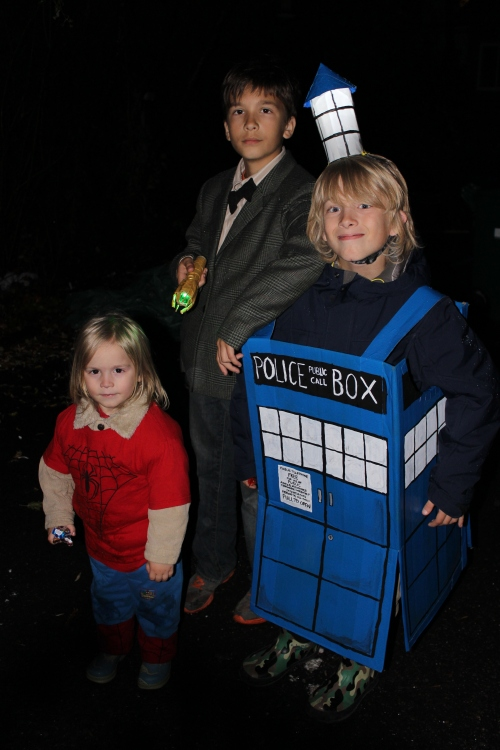 Spiderman (3yrs), Doctor Who (11yrs), the TARDIS (9yrs)